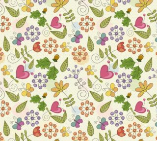 Aperçu de Super Cute Retro Mod Vintage Flowers, Hearts, Swirls