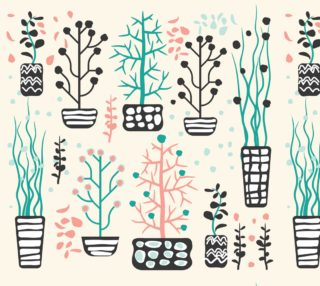 Retro Plants - Potted Plants in Pink and Aqua preview