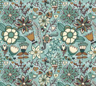 Aperçu de Vintage Retro Blue Floral