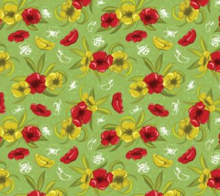 Aperçu de Vintage Red and Yellow Flowers on Green background