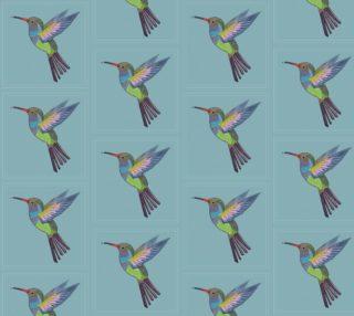 Aperçu de Hummingbird on Blue Background