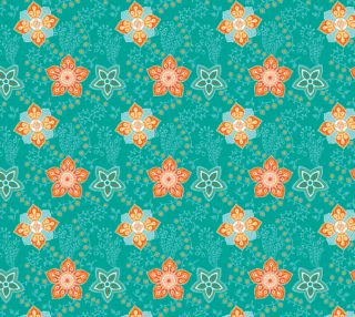 Aperçu de Retro Teal and Orange Floral