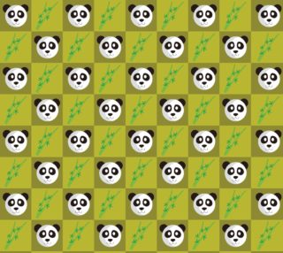 Panda and Bamboo on Green Background preview