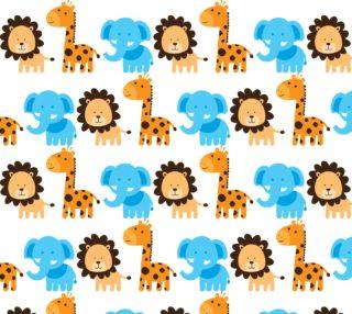 Aperçu de Lion Giraffe and Elephant Kid's Fabric