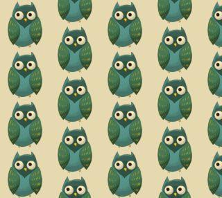 Aperçu de Retro Owl - Green, Teal on Cream Background
