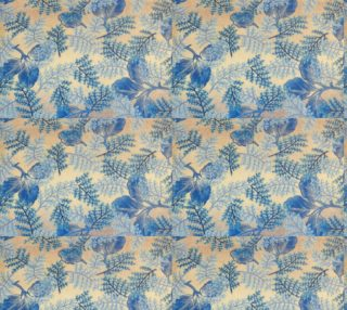 1950s Blue Ferns Fabric preview