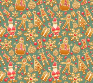 1950 Vintage Gingerbread Christmas Fabric preview