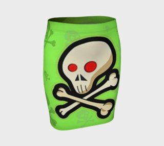 Cartoon Skull On Green Fitted Skirt preview