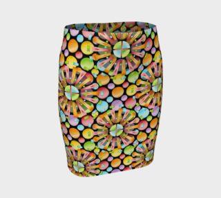 Aperçu de Rainbow Dots Sunburst Fitted Skirt larger print