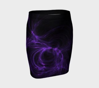 Purple Fractal on Black Fitted Skirt preview