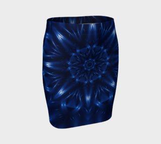 Aperçu de Electric Blue Fractal Kaleidoscope Fitted Skirt