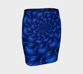 Aperçu de Electric Blue Spiral Fractal  Fitted Skirt