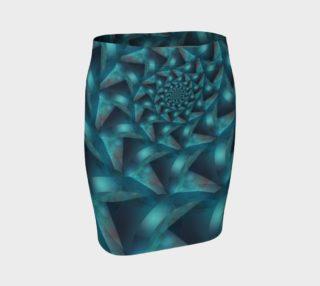Aperçu de Turquoise Spiral Fractal Fitted Skirt