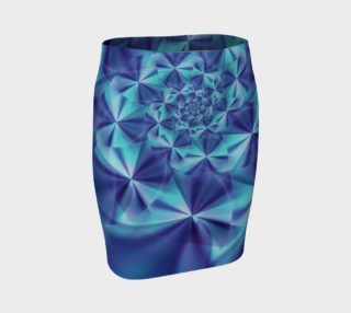 Aperçu de Purple & Turquoise Spiral Fractal Fitted Skirt