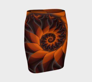 Aperçu de Orange & Brown Petal Spiral Fitted Skirt