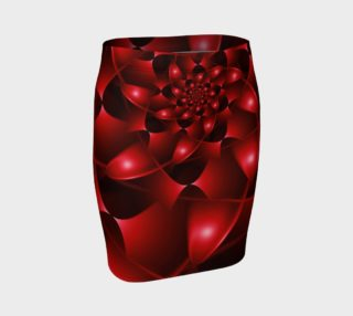 Aperçu de Glossy Red Scalloped Spiral Fitted Skirt