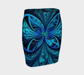 Aperçu de Blue Fractal Fitted Skirt