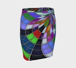 Aperçu de Trendy Fitted Skirt:  Colorful Stained Glass Pattern