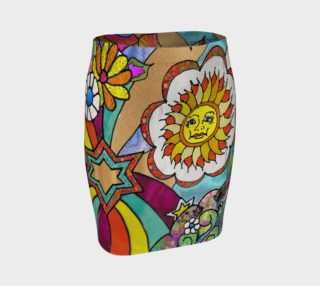 Psychedelic Sunshine Art Print Fitted Skirt preview