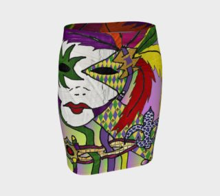 Aperçu de Mardi Gras Mask Art Print Fitted Skirt
