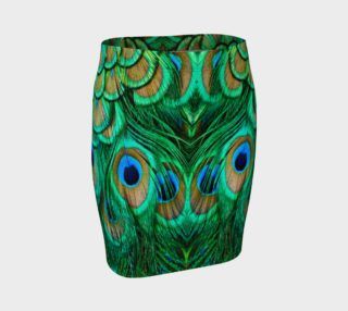 Peacock Feathers Reflection Fitted Skirt preview