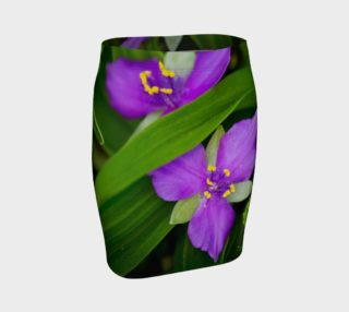 Aperçu de Wildflower Purple Spiderwort Fitted Skirt