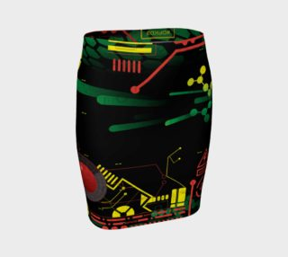 Futuristic Sci-Fi Techno Red Green Yellow Fitted Skirt preview
