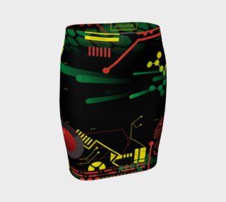 Aperçu de Futuristic Sci-Fi Techno Red Green Yellow Fitted Skirt