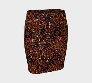 Colorful Stained Glass Look Whimsical Floral Fitted Skirt preview