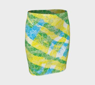 Yellow Blue Green White Paint Stripes Floral Fitted Skirt preview