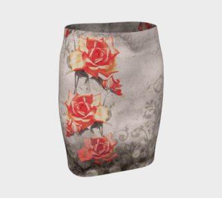 Aperçu de Vintage Red Grey Rose Grunge Floral Fitted Skirt