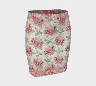 Aperçu de Bold Red Green Wild Rose Floral Fitted Skirt