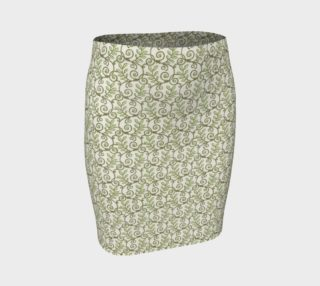 Green Cream Leafy Lace Floral Fitted Skirt preview