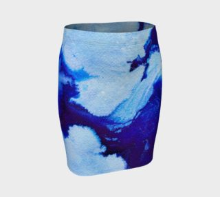 Aperçu de Blue Abstract Marble - Pencil Skirt