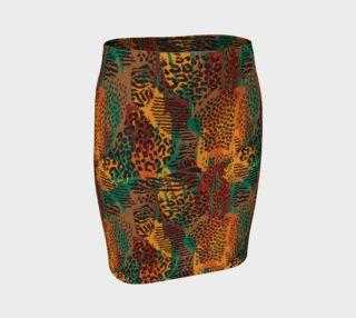 Safari Animal Print Mashup Fitted Skirt preview