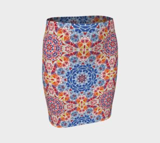 Blue and Orange Kaleidoscope Fitted Skirt preview
