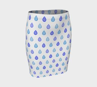 Blue raindrops Fitted Skirt preview