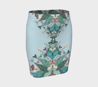 Green summer butterflies fitted skirt  preview