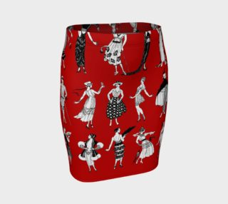La Vie Parisienne Rouge - Fitted Skirt preview