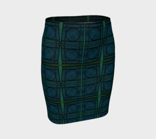 Mod Teal Blue with Green Stripes Circles Pattern preview