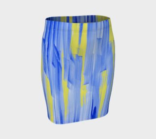Paintstrokes in Blue and Yellow Fitted Skirt preview
