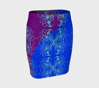 Bright Flower Blue Fitted Skirt preview