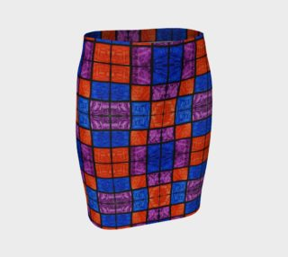Checkerboard Mosaic Fitted Skirt preview