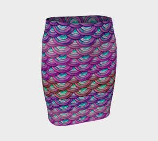 Handpainted Cut Paper Dragon Mermaid Scales Purple Tight Skirt preview