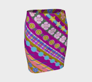 Stripe Fuchsia Fitted Skirt preview
