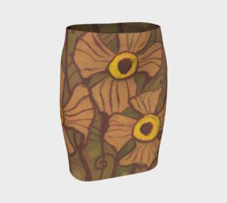 Aperçu de Yellow-eyed flowers, floral art, beige - brown - olive