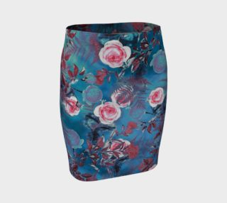 fitted skirt blue flowers preview