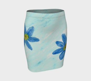 Simply Blue Flowers Fitted Skirt preview