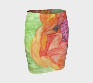 Giant Orange Poppy Fitted Skirt preview
