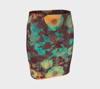 Aperçu de flare skirt flowers green